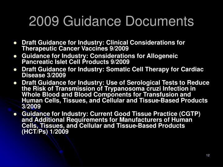 2009 Guidance Documents