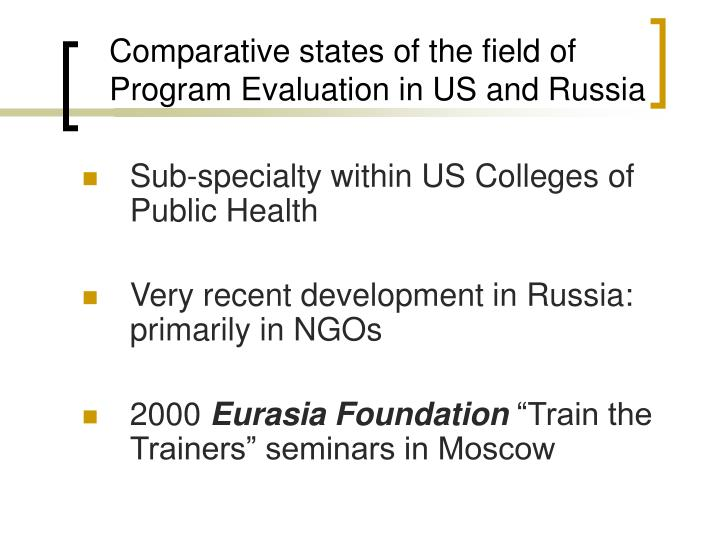 Comparative states of the field of Program Evaluation in US and Russia