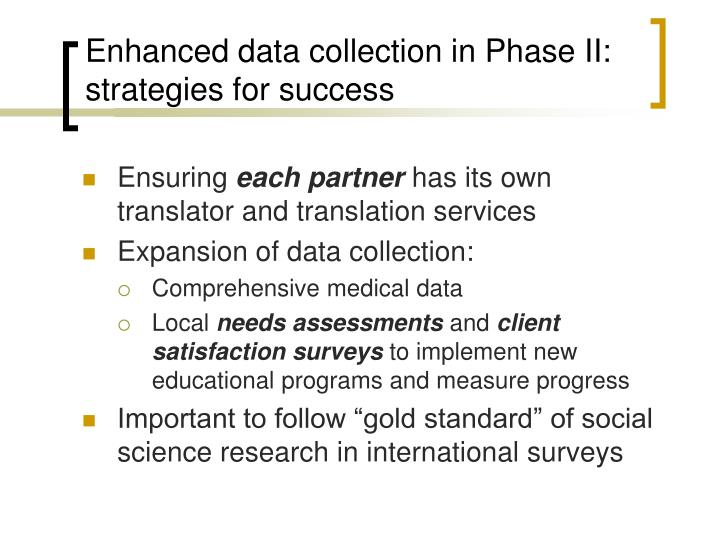 Enhanced data collection in Phase II: strategies for success
