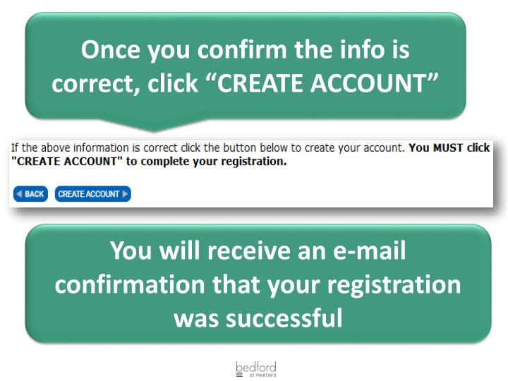 "Once you confirm the info is correct, click ""CREATE ACCOUNT"""