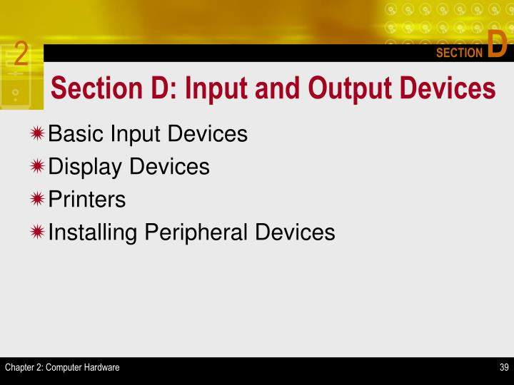 Section D: Input and Output Devices