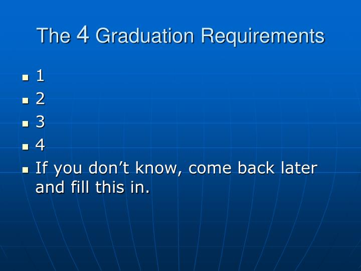 The 4 graduation requirements