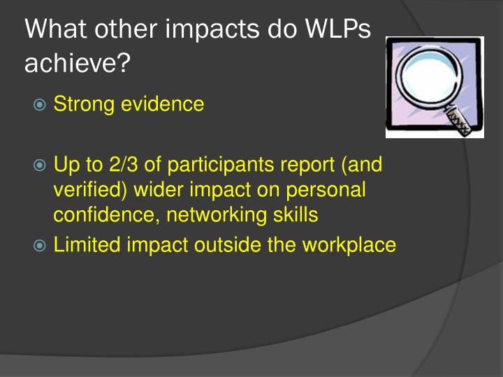 What other impacts do WLPs achieve?