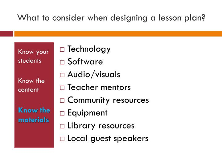 What to consider when designing a lesson plan?