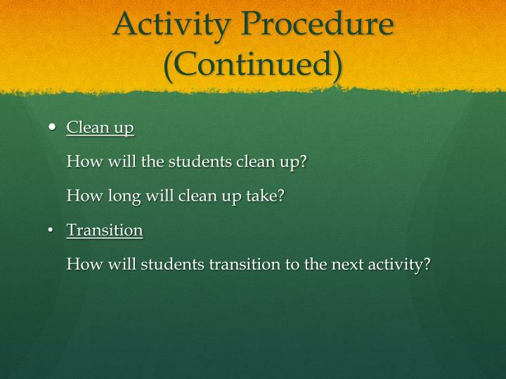 Activity Procedure