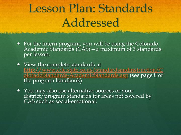 Lesson Plan: Standards Addressed