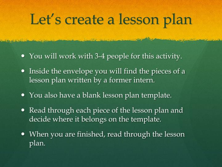 Let's create a lesson plan