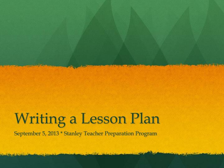 Writing a lesson plan