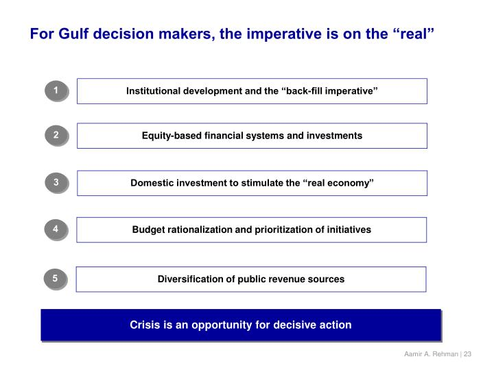 "For Gulf decision makers, the imperative is on the ""real"""