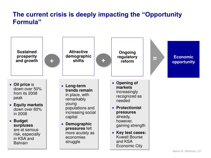 "The current crisis is deeply impacting the ""Opportunity Formula"""