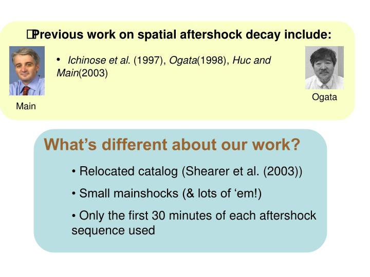 Previous work on spatial aftershock decay include: