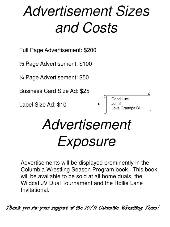 Advertisement sizes and costs