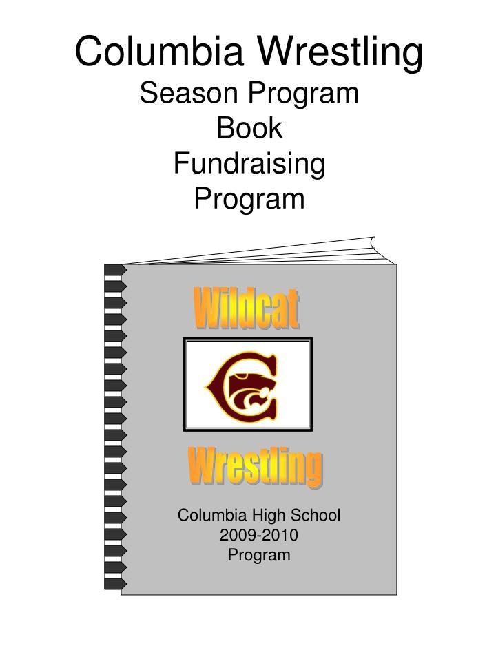 Columbia wrestling season program book fundraising program