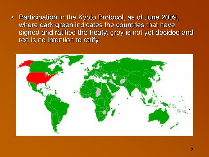 Participation in the Kyoto Protocol, as of June 2009, where dark green indicates the countries that have signed and ratified the treaty, grey is not yet decided and red is no intention to ratify