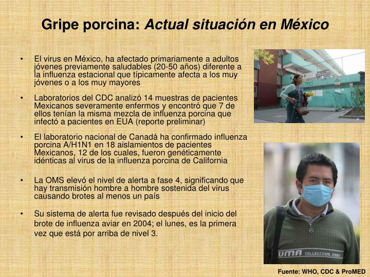 El virus en México, ha afectado primariamente a adultos jóvenes previamente saludables (20-50 años) diferente a la influenza estacional que típicamente afecta a los muy jóvenes o a los muy mayores