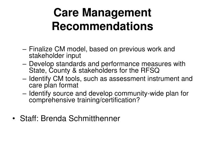 Care Management Recommendations