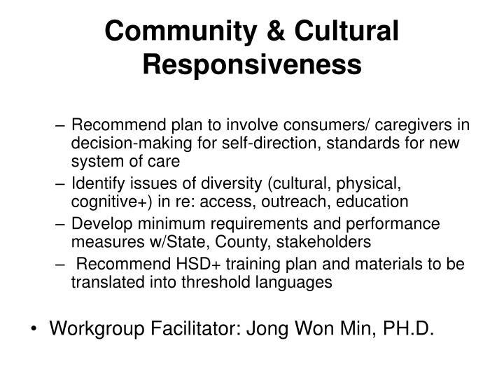 Community & Cultural Responsiveness