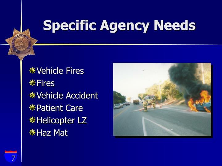 Specific Agency Needs