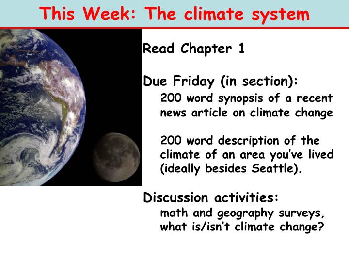 This Week: The climate system