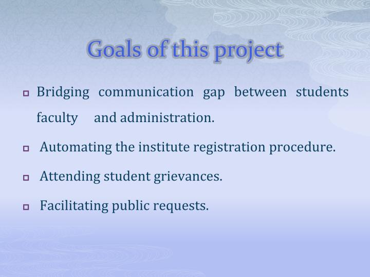Goals of this project