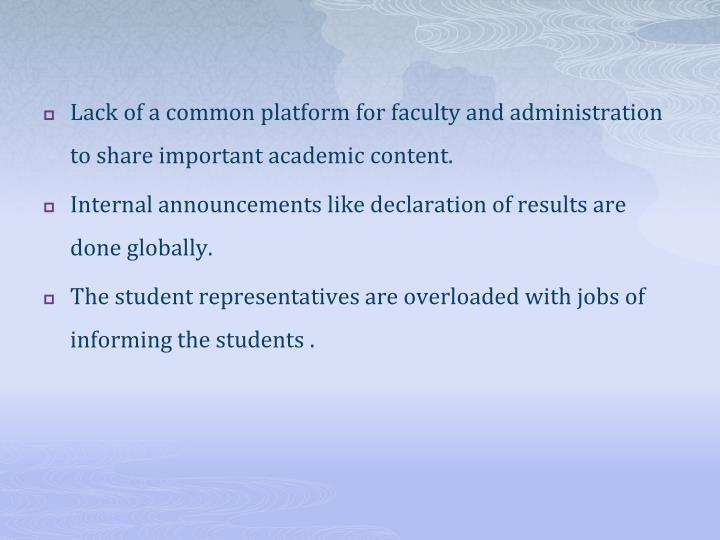 Lack of a common platform for faculty and administration to share important academic content.