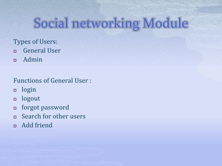 Social networking Module