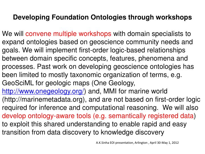 Developing Foundation Ontologies through workshops