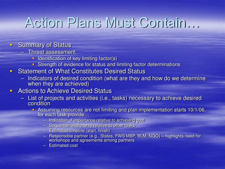 Action Plans Must Contain…