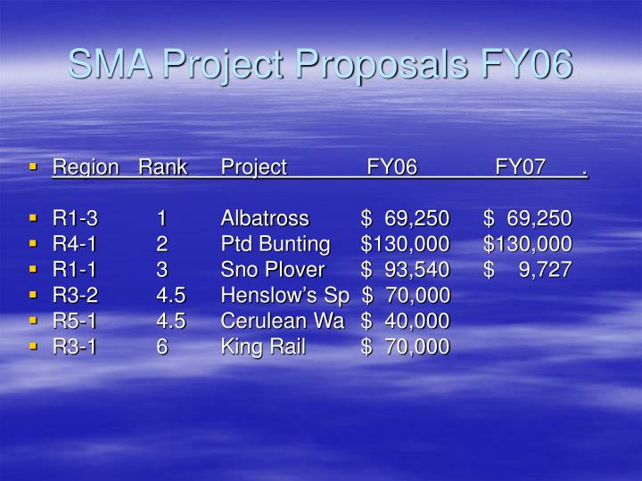 SMA Project Proposals FY06