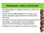 bibliography notes to remember