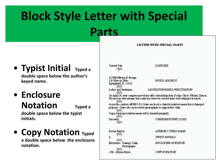 Block Style Letter with Special Parts