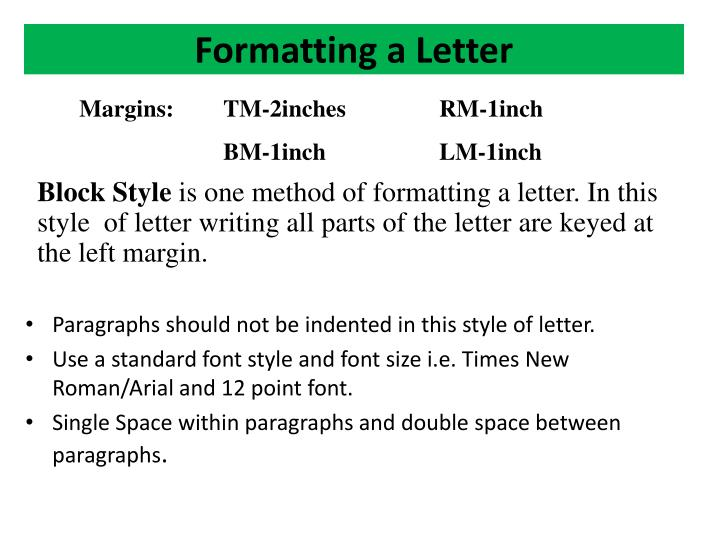 Formatting a Letter