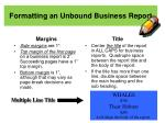 formatting an unbound business report