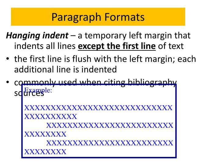 Paragraph Formats