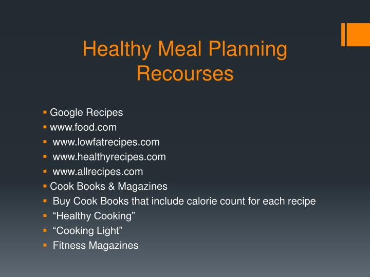 Healthy Meal Planning Recourses