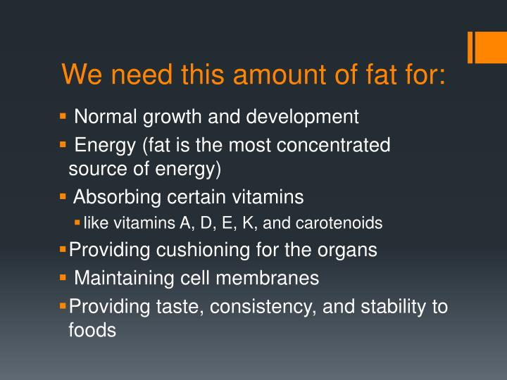 We need this amount of fat for: