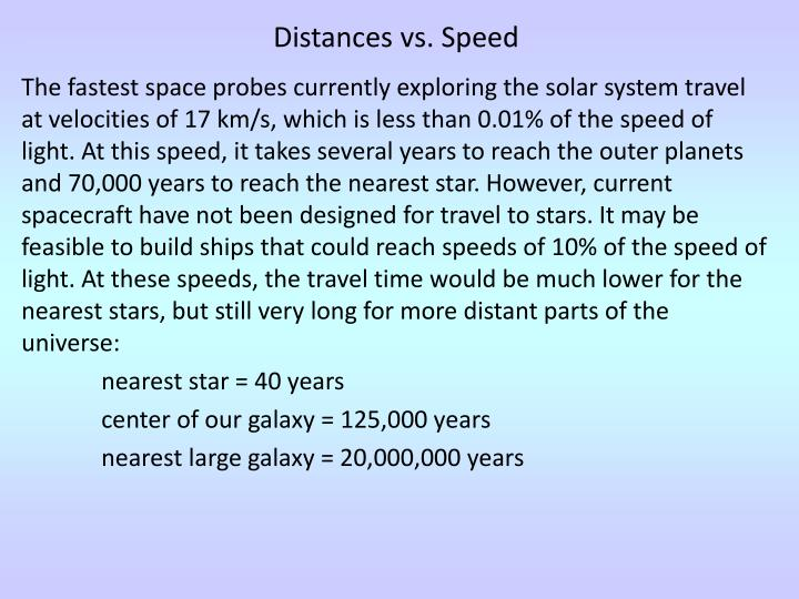 Distances vs. Speed