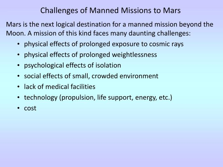Challenges of Manned Missions to Mars