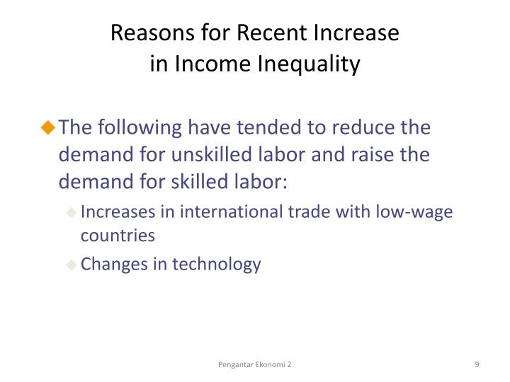 Reasons for Recent Increase