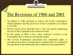 the revisions of 1986 and 2001
