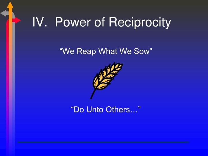 IV.  Power of Reciprocity
