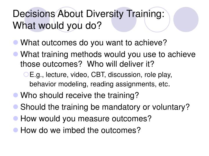 Decisions About Diversity Training: