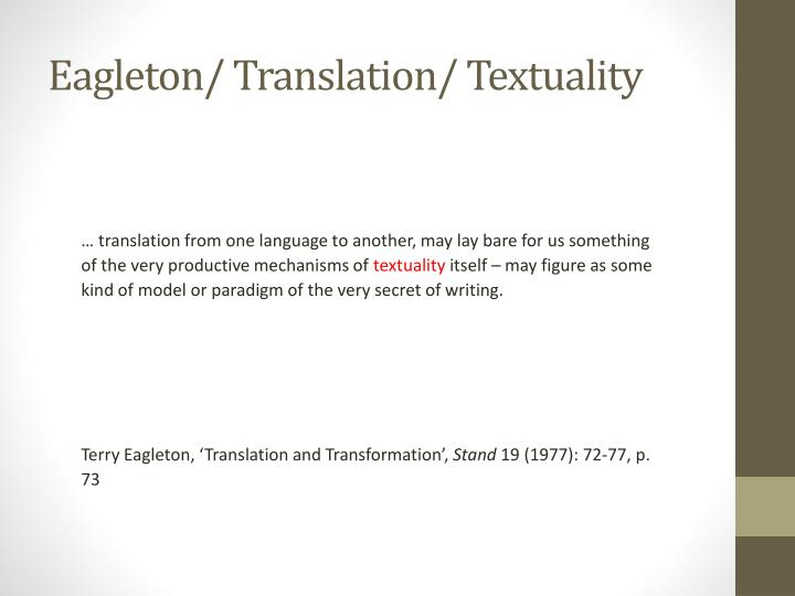 Eagleton/ Translation/