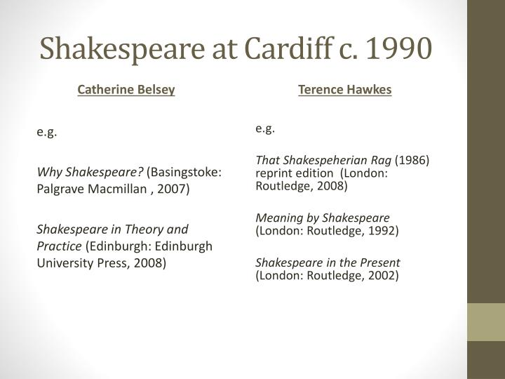 Shakespeare at Cardiff c. 1990