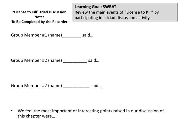 Learning Goal: SWBAT