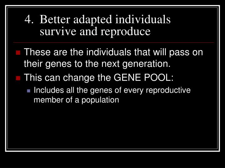 Better adapted individuals survive and reproduce