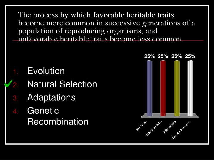 The process by which favorable heritable traits become more common in successive generations of a population of reproducing organisms, and unfavorable heritable traits become less common.