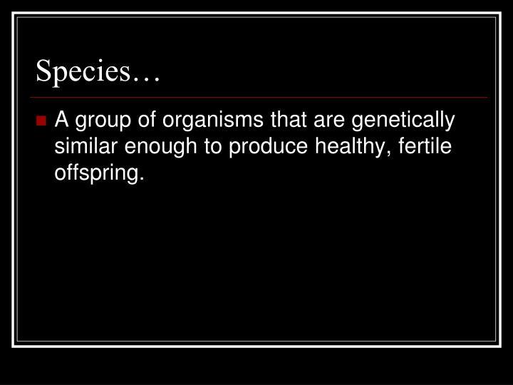 Species…