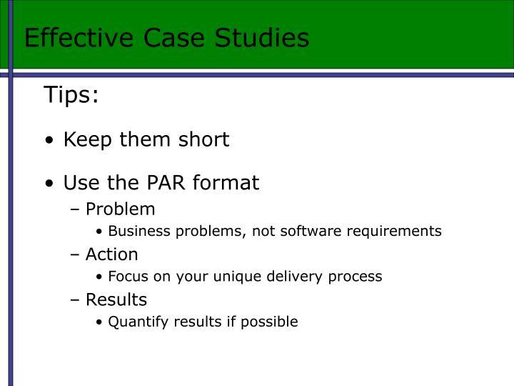 Effective Case Studies