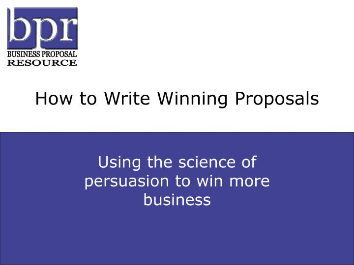 How to write winning proposals